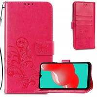 Maciņš Flower Book Samsung A225 A22 4G rose-red